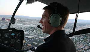 Flying helicopter R44 over Las Vegas