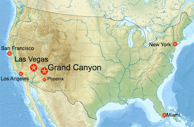 USA karta med Grand Canyon och Las Vegas